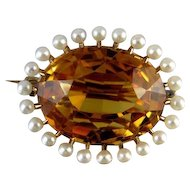 Stunning Edwardian 14k gold 15 carat citrine seed pearl brooch pin