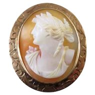 Antique Edwardian 10k rose gold cameo pin brooch pendant brooch pendant signed Keller & Co