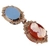 Antique Victorian 14k gold hard stone carnelian cameo sardonyx locket fob pendant