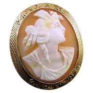 Antique Victorian 14k rose gold filigree cameo brooch pin