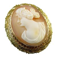 Antique Edwardian gold filigree cameo brooch pin