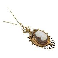 Antique Victorian diamond pearl rose gold cameo pendant necklace