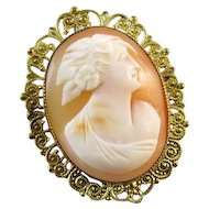 Antique Edwardian shell cameo gilt on brass brooch pin pendant necklace