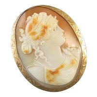 Signed  Ziething and Co Antique Edwardian LARGE rose gold cameo brooch pin pendant