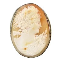 Vintage early Art Deco LARGE 14K white gold cameo brooch pin pendant necklace