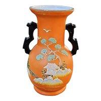 Vintage Art Deco hand painted Japanese Hotta Yu Shoten Satsuma Moriage bud vase