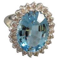 MASSIVE vintage estate 14k white gold 14.12 carat blue topaz 1.20 carat diamond cocktail ring