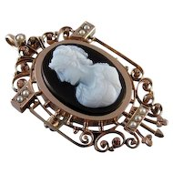 Antique early Victorian rose gold sardonyx hardstone cameo seedpearl brooch pin necklace pendant
