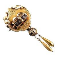Antique Victorian 14k gold black enamel taille d epargne doorknocker brooch pin necklace pendant