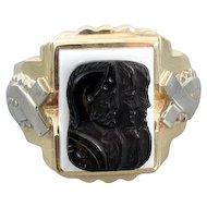 Mans vintage early Art Deco two tone 10k yellow and white gold triple head warrior sardonyx hardstone cameo ring