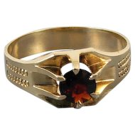 Mans signed WWW White Wile Warner antique Edwardian 10k rose gold .83 carat garnet solitaire ring, size 10-1/2