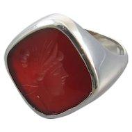 Mans vintage Art Deco 14k white gold carnelian intaglio seal ring