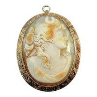 Antique Edwardian Diana the Huntress 10k rose gold cameo brooch pin pendant