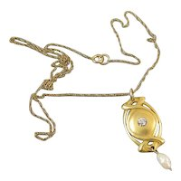 Vintage early Art Deco 14k gold diamond and pearl lavalier conversion necklace pendant