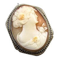 Vintage Art Deco 14k white gold filigree cameo brooch pin pendant necklace signed Esemco Shiman