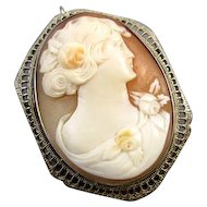 Vintage Art Deco 14k white gold filigree cameo brooch pin pendant necklace signed Esemco Shiman