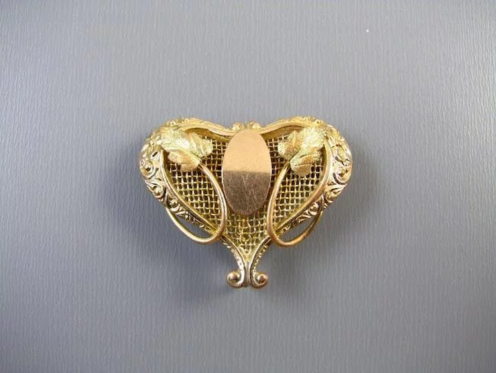 Antique Edwardian tri color gold filled heart shaped brooch pin with hook  back attachment watch pin