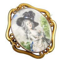 MASSIVE exceptional antique Victorian 14k gold hand painted portrait brooch pin pendant Georgiana Cavendish Duchess of Devonshire