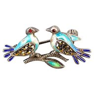 Vintage sterling silver enamel marcasite glass garnet love bird brooch pin