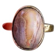 Vintage estate 14k gold opal in matrix hand crafted organic ring, size 5.5