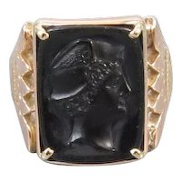 Antique Victorian 10k rose gold black onyx Mercury cameo ring size 9