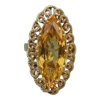 MASSIVE vintage 18k gold marquise cut 7.42 carat citrine quartz statement cocktail ring, size 7
