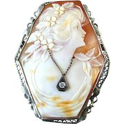 Large 6 sided hexagonal vintage Art Deco 14k white gold filigree diamond habille cameo brooch pin pendant necklace