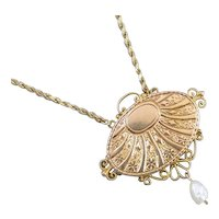 Antique Victorian hand engraved ornate wire work 14k gold conversion pendant necklace with fresh water pearl drop