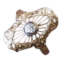 Vintage estate 14k gold filigree .08 carat diamond ring size 6.5