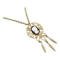 Vintage gold filled black and white glass cameo fringe tassle drop pendant necklace j210