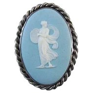 Antique Edwardian 1911 sterling silver blue jasperware Wedgwood full body cameo brooch pin pendant super heavy 21 gram CAST mounting