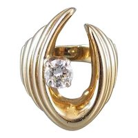 Ultra Modern estate 14k gold .45 carat diamond ring, size 5