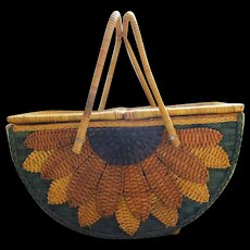 Stunning mid century vintage oversize footed sunflower wicker basket - Red Tag Sale Item