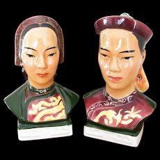 Vintage Goldcrest / Goldscheider / ceramic / porcelain / China / Asian / Chinese / Oriental / bust / head / figurines / man and woman matched set