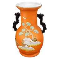 Vintage Art Deco Asian / Japan / Oriental / vase / figural / satsuma / hand painted / porcelain / bonsai tree / pagoda / Hotta Yu Shoten