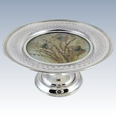 Art Deco 1915 sterling silver Morpho butterfly moth under glass compote dish / trinket tray / candle / votive / candy / nuts / jewelry