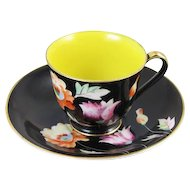 Vintage hand painted Chugai Occupied Japan demitasse cup and saucer / black / yellow / porcelain / china / bone china / tea / coffee
