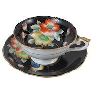 Vintage Ardalt / Lenwile / Occupied Japan cup and saucer / black / bird / porcelain / china / bone china / shabby chic / tea / coffee