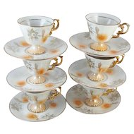 Set of 6 vintage hand painted demitasse / lustre / luster / cup and saucer / porcelain / china / bone china / tea / coffee / lusterware