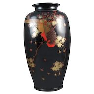 Extra large black vintage hand painted Birds and floral Japanese metal urn vase / metalware / shakudo / Asian / Oriental / Japan