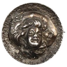 Antique Art Nouveau sterling silver Gibson Girl style repousse high relief cameo brooch pin