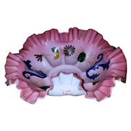 Antique Edwardian pink and white frosted satin art glass fluted scalloped ruffled hand painted large bowl / brides basket