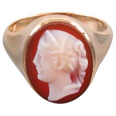 Antique Victorian hard stone, hardstone sardonyx cameo 10k gold ring unisex size 9-3/4, hand carved, late 1800s, extra heavy 8.1 gram mounting