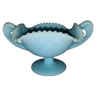 Vintage Fenton art glass candy bon bon bowl dish blue custard satin / eared / handles / footed / pedestal