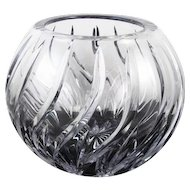 Vintage mid century cut glass crystal swirling flames pattern art glass bowl