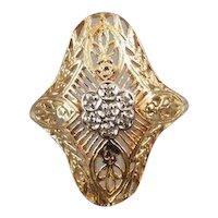 Vintage estate 14k gold filigree diamond cluster ring size 8-1/4, signed Romanza