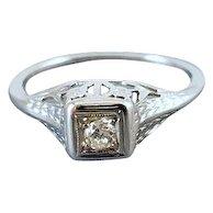 Vintage Art Deco filigree 18k white gold .06 ct diamond engagement solitaire ring size 6