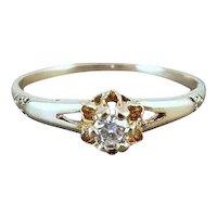 Antique Edwardian 14k gold .10 ct diamond bridal wedding solitaire engagement ring size 7