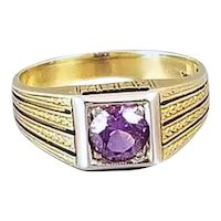 Vintage Art Deco 14k gold purple amethyst ring, size 5.5 chaff of wheat engraving