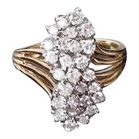 Modern estate 14k gold 1.10 carat diamond waterfall figure eight bypass statement cocktail ring, size 6-1/4